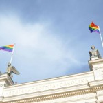 LGBTQ flag on top of Lund University
